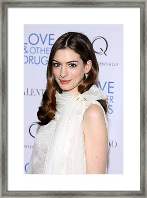 Anne Hathaway At Arrivals For Love And Framed Print