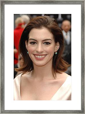 Anne Hathaway At The Press Conference Framed Print