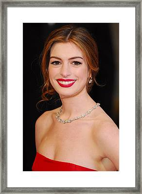 Anne Hathaway Wearing Tiffany Jewelry Framed Print by Everett
