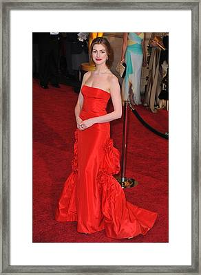 Anne Hathaway Wearing Valentino Dress Framed Print