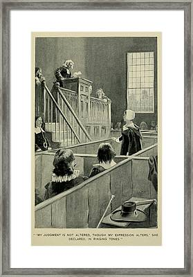 Anne Hutchinson, Charged With Heresy Framed Print