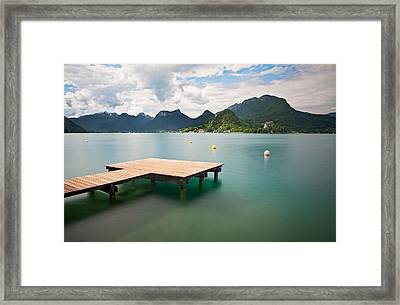 Annecy Lake And French Alps In Background Framed Print