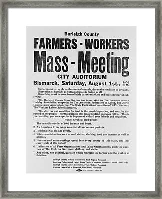Announcement For A 1937 Farmers Mass Framed Print