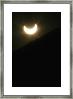Framed Print featuring the photograph Annular Solar Eclipse At Sunset Number 1 by Lon Casler Bixby