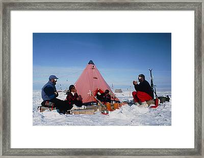 Antarctic Research Team Relaxing Outside Tent Framed Print by David Vaughan