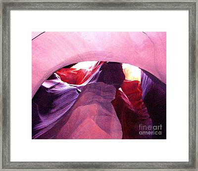 Antelope Slot Canyon Looking Up A Chimney Framed Print by Merton Allen