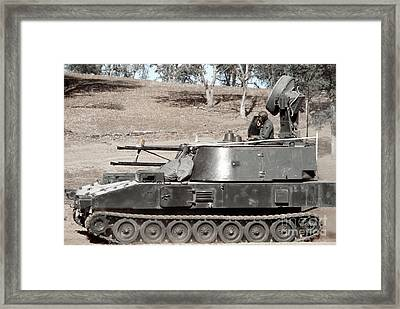 Anti-aircraft Guns Mounted On An M109 Framed Print by Stocktrek Images