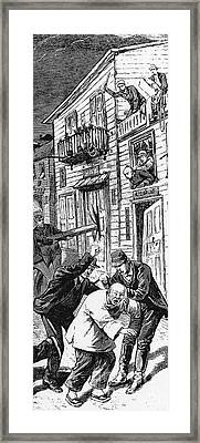 Anti-chinese Riot, 1880.  A Chinese Man Loses His Pigtail During A Race Riot In Denver, Colorado In 1880. Contemporary American Wood Engraving Framed Print by Granger