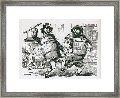 Anti-immigrant Cartoon Showing Two Men Framed Print by Everett
