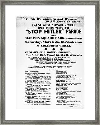 Anti-nazi Protest, 1939 Framed Print by Granger