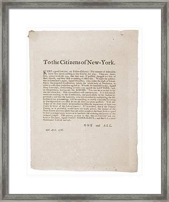 Anti-republican Broadside Of April 29 Framed Print