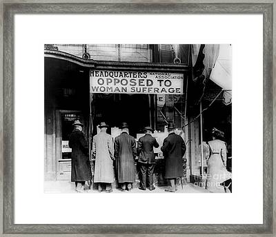 Anti Suffrage Headquarters Framed Print