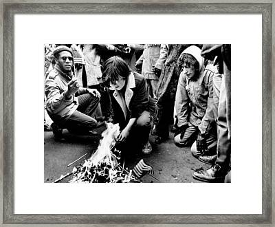 Anti-war Demonstrators Burn Small Framed Print by Everett