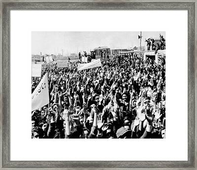 Anti-western Demonstration In Iran Framed Print by Everett