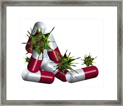 Antibiotic Pills And Microbes, Artwork Framed Print by Victor Habbick Visions
