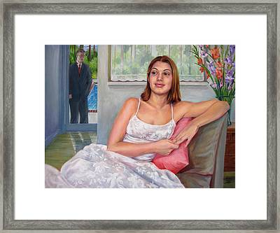Framed Print featuring the painting Anticipation - Jasmin Contemplates The Prom by Nancy Tilles