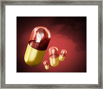 Antidepressant Medication Framed Print by Victor Habbick Visions