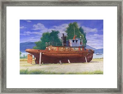 Antiquated Hudson River Tug Framed Print by Glen Heberling