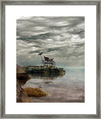 Antique Baby Buggy By The Sea Framed Print by Jill Battaglia