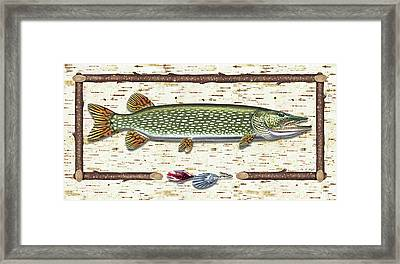 Antique Birch Pike And Lure Framed Print by JQ Licensing