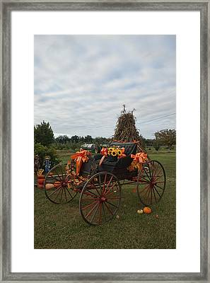 Antique Buggy In Fall Colors Framed Print by Kathy Clark
