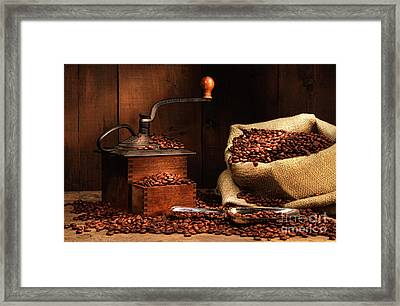 Antique Coffee Grinder With Beans Framed Print by Sandra Cunningham