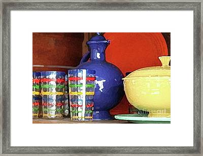 Antique Fiesta Dishes 3 Framed Print by Marilyn West