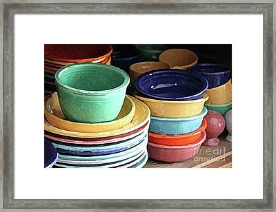 Antique Fiesta Dishes I Framed Print by Marilyn West