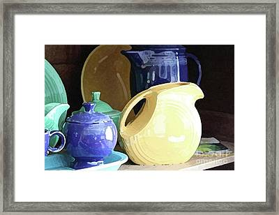 Antique Fiesta Dishes II Framed Print by Marilyn West