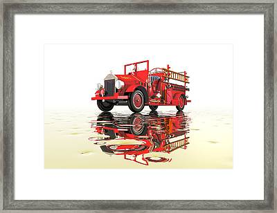 Antique Fire Engine Framed Print by Carol and Mike Werner