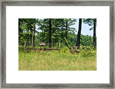 Antique Hayrake And Cutter 1 Framed Print