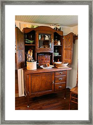 Antique Hoosier Cabinet Framed Print by Carmen Del Valle