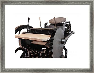 Antique Letterpress On White Framed Print by Ruby Hummersmith
