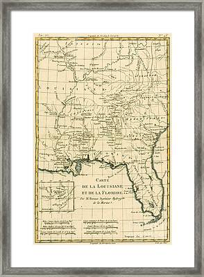 Antique Map Of Louisiana And Florida Framed Print by Guillaume Raynal