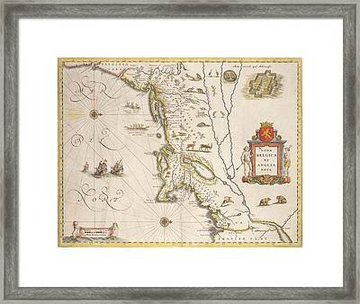 Antique Map Of New Belgium And New England Framed Print by Joan Blaeu