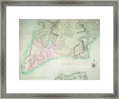 Antique Map Of New York Framed Print by English School