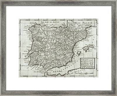 Antique Map Of Spain And Portugal Framed Print by Hermann Moll