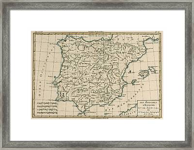 Antique Map Of Spain Framed Print by Guillaume Raynal