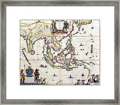 Antique Map Showing Southeast Asia And The East Indies Framed Print by Willem Blaeu