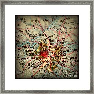 Antique Map With A Heart Over The City Of Paris In France Framed Print by ELITE IMAGE photography By Chad McDermott