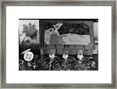 Antique Tin Still Life Framed Print by Christine Perry