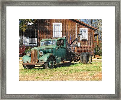 Antique Tow Truck Textured Framed Print by Barbara Bowen