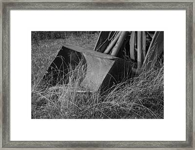 Antique Tractor Bucket In Black And White Framed Print by Jennifer Ancker