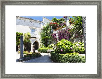 Antique Villa  Garden  Framed Print by George Oze