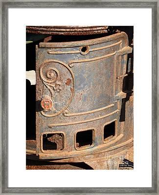 Antique Water Heater Door Framed Print