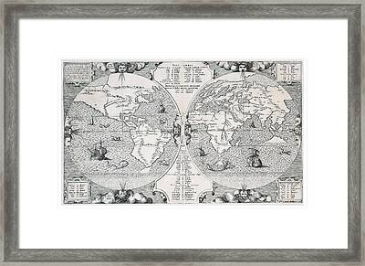 Antique World Map Framed Print