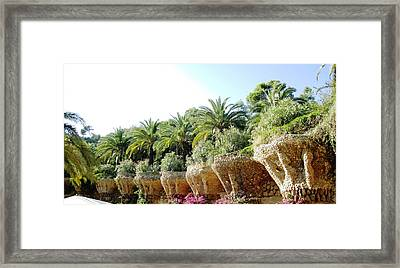 Antoni Gaudi Park Guell Plants Barcelona Spain Framed Print by John Shiron