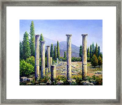 Framed Print featuring the painting Aphrodesias Ruins by Lou Ann Bagnall