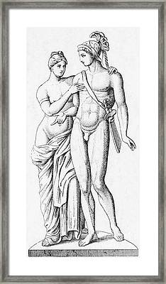 Aphrodite And Ares, Greek Olympians Framed Print by Photo Researchers