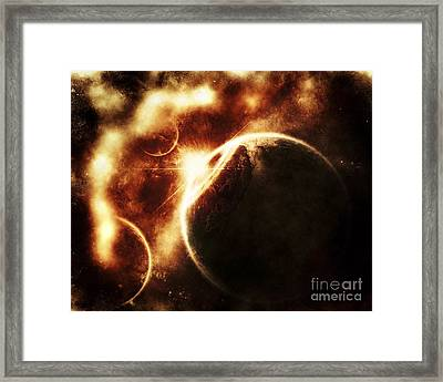 Apocalyptic View Of A Solar System Framed Print by Tomasz Dabrowski
